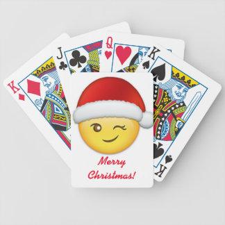 Frohe Weihnachten, die Emoji blinzeln Bicycle Spielkarten
