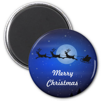 Frohe Weihnachten, die Sankt fliegen Runder Magnet 5,1 Cm
