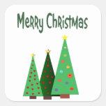 Frohe Weihnachten, Feiertag verzierten Bäume Quadratsticker