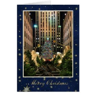 Frohe Weihnachten: Felsen-Mitte, blauer Karte