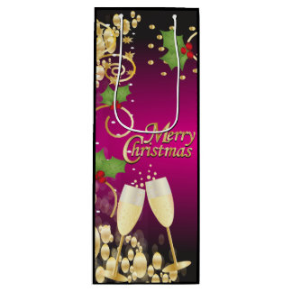 Frohe Weihnachten festliches Fushia Rosa und Gold Geschenktüte Für Weinflaschen