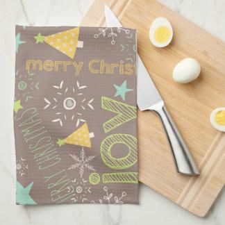 Frohe Weihnachten, Freude, Weihnachtsbaum-Küche Handtuch