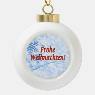 Frohe Weihnachten! Frohe Weihnachten in deutschem Keramik Kugel-Ornament