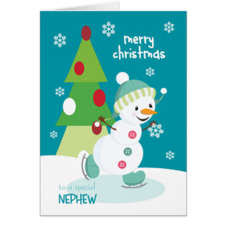 Frohe Weihnachten für Neffe-Eis-SkatenSnowman Karte
