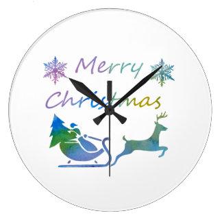 Frohe Weihnachten Große Wanduhr