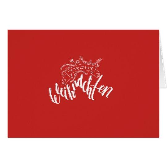 Frohe Weihnachten - Handlettering auf rot Karte