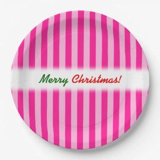 """Frohe Weihnachten! ""; Hellrosa u. tiefrosa Pappteller"