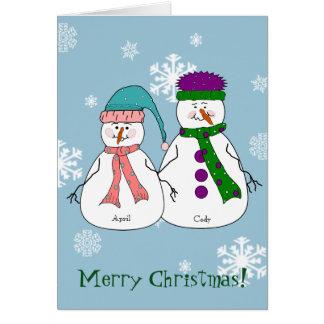 Frohe Weihnachten Herr-Fräulein Snowman Grußkarte