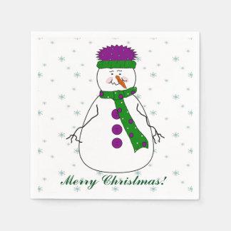 Frohe Weihnachten Herr-Snowman Snowing Snow Flakes Papierserviette