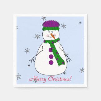 Frohe Weihnachten Herr-Snowman Snowing Snow Flakes Papierservietten