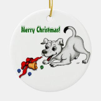 Frohe Weihnachten - Hund mit Bell und Ball Keramik Ornament