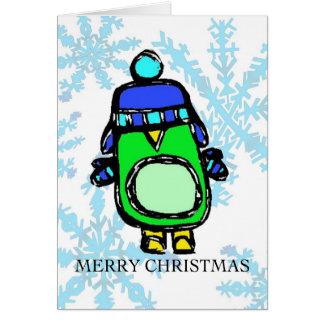 frohe Weihnachten - Hut u. Handschuh-Pinguin Karte