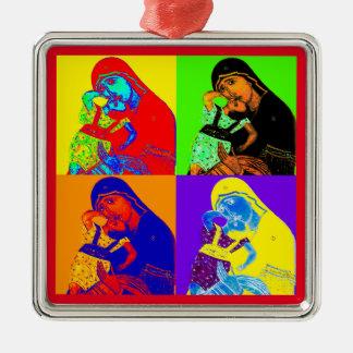 Frohe Weihnachten! [Ikone 2] Quadratisches Silberfarbenes Ornament