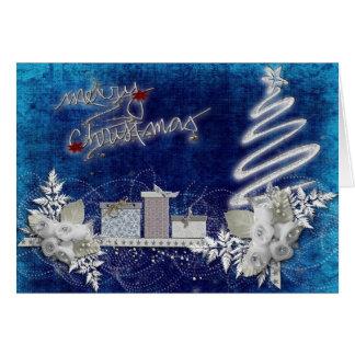 Frohe Weihnachten im Blau und im Silber Karte