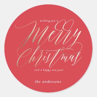 Frohe Weihnachten im mutigen Rot Runder Aufkleber