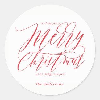 Frohe Weihnachten im mutigen roten Runder Aufkleber