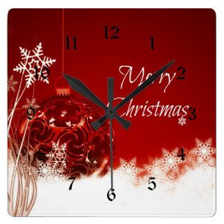 Frohe Weihnachten in Rotem und in weißem Quadratische Wanduhr