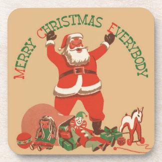 Frohe Weihnachten jeder! Vintager Weihnachtsmann Getränk Untersetzer