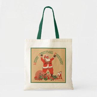 Frohe Weihnachten jeder! Vintager Weihnachtsmann Tragetasche