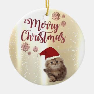 Frohe Weihnachten, Katze mit Weihnachtsmannmütze Rundes Keramik Ornament
