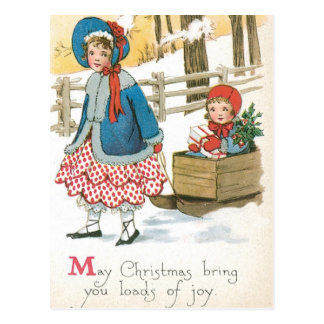 Frohe Weihnachten Kinder in einem hölzernen Pferd Postkarte