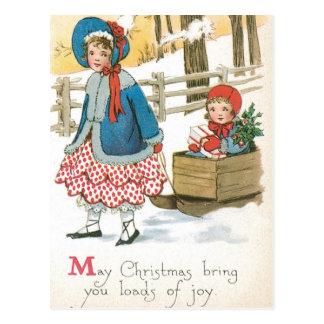 Frohe Weihnachten, Kinder in einem hölzernen Postkarte