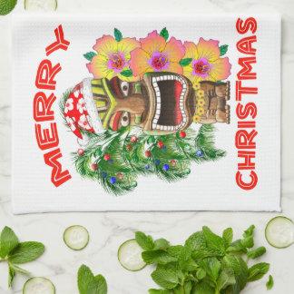 Frohe Weihnachten lustige Sankt Tiki Handtuch