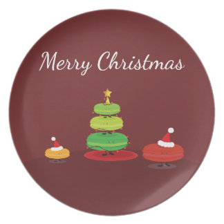 Frohe Weihnachten Macarons   Melamin-Platte Teller