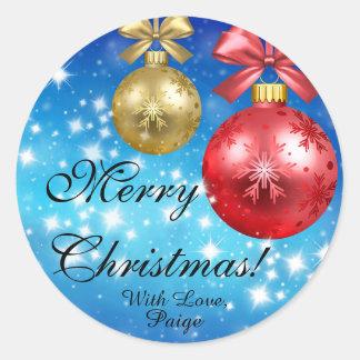 Frohe Weihnachten mit der Liebe personalisiert Runder Aufkleber