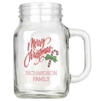 Frohe Weihnachten mit der Zuckerstange - Einmachglas