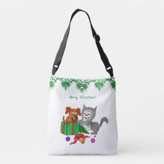 Frohe Weihnachten mit Katze und Hund Tragetaschen Mit Langen Trägern