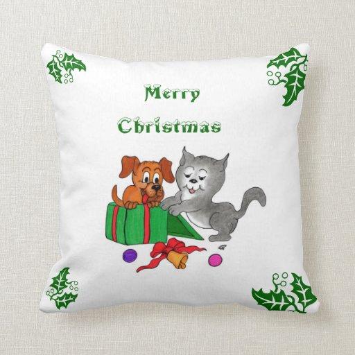frohe weihnachten mit katzen welpen und drachen zierkissen. Black Bedroom Furniture Sets. Home Design Ideas