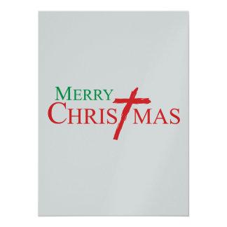 Frohe Weihnachten mit Kreuz von Briefmarken Jesuss 14 X 19,5 Cm Einladungskarte