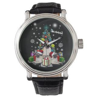 Frohe Weihnachten mit Mops-Hundetier Armbanduhr