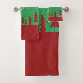 Frohe Weihnachten mit Sankt und seinen Renen Badhandtuch Set