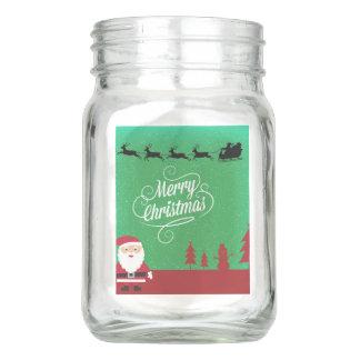 Frohe Weihnachten mit Sankt und seinen Renen Einmachglas