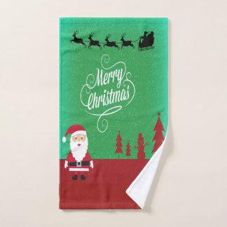 Frohe Weihnachten mit Sankt und seinen Renen Handtuch