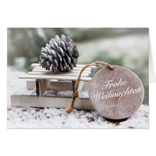 'Frohe Weihnachten' mit Schlitten Karte