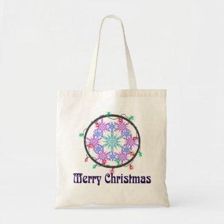 Frohe Weihnachten mit Schneeflocken Tragetasche