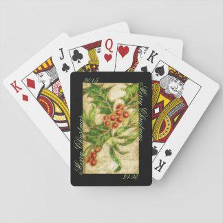 Frohe Weihnachten mit Stechpalme, fertigen Spielkarten