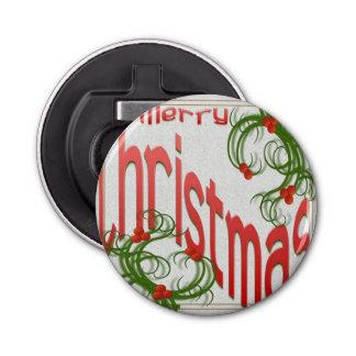 Frohe Weihnachten mit stilisierter Stechpalme Runder Flaschenöffner