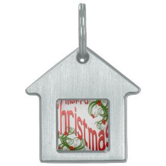 Frohe Weihnachten mit stilisierter Stechpalme Tiermarke