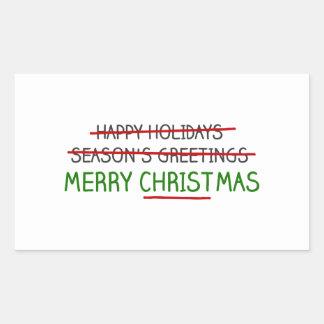 Frohe Weihnachten, nicht die Grüße der Jahreszeit Rechteckiger Aufkleber