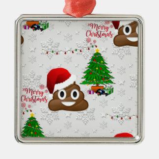 frohe Weihnachten poo emoji Silbernes Ornament