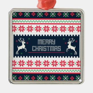 Frohe Weihnachten Premiun quadratische Verzierung Silbernes Ornament