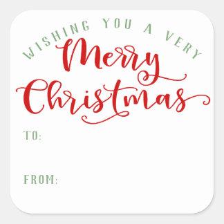 Frohe Weihnachten Quadratischer Aufkleber