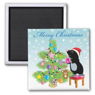Frohe Weihnachten Quadratischer Magnet