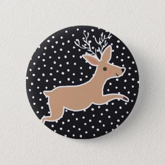 Frohe Weihnachten - Ren Runder Button 5,1 Cm