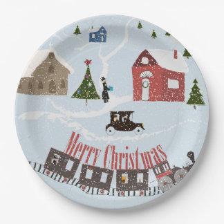 Frohe Weihnachten, Retro Pappteller