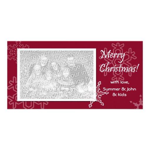 Frohe Weihnachten! Rote Schneeflocke-Foto-Karte